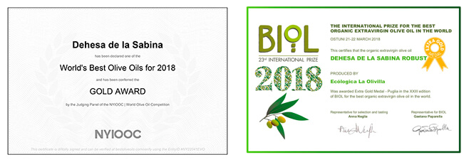 Premios 2018 aceite Dehesa de la Sabina
