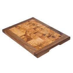 Tabla de cocina de madera maciza de olivo y nogal