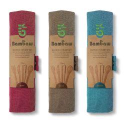 Juego de cubiertos y pajita de bambú con funda - Bambaw