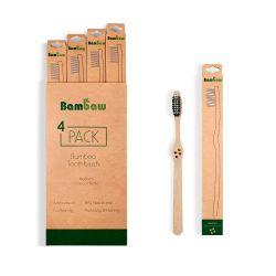 Cepillo de dientes de bambú, dureza media y con carbón activo - Bambaw