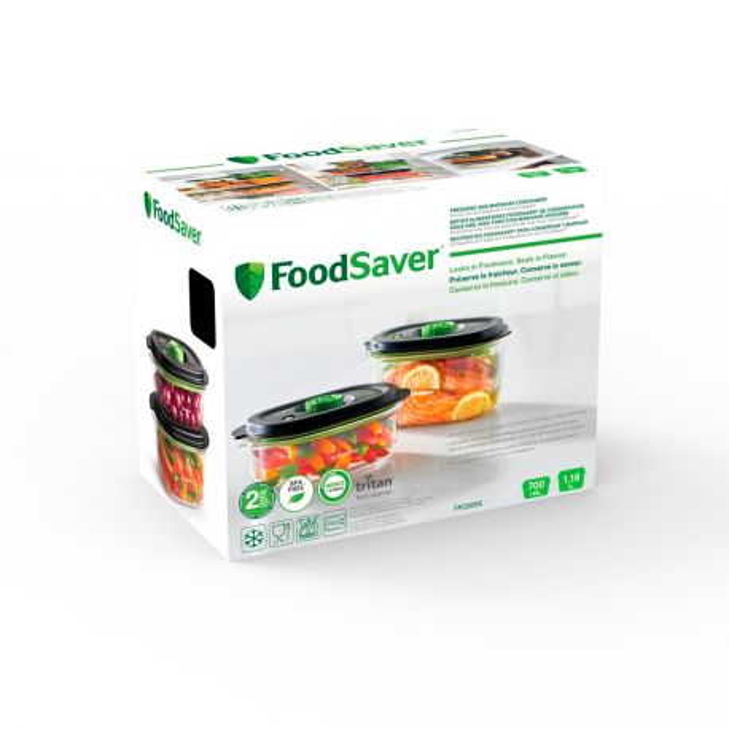 Pack 2 contenedores para envasar al vacío y marinar - Foodsaver