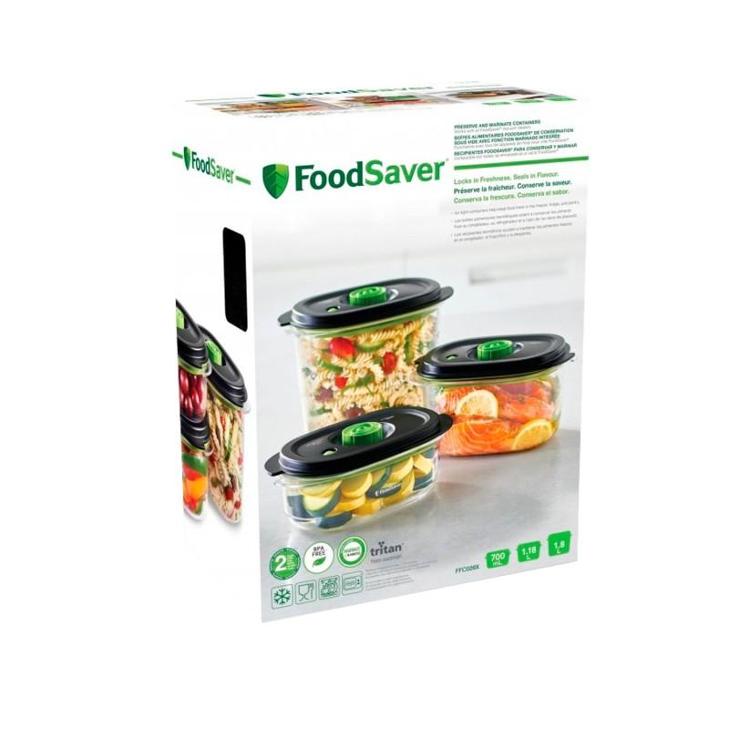 Pack 3 contenedores para envasar al vacío y marinar - Foodsaver
