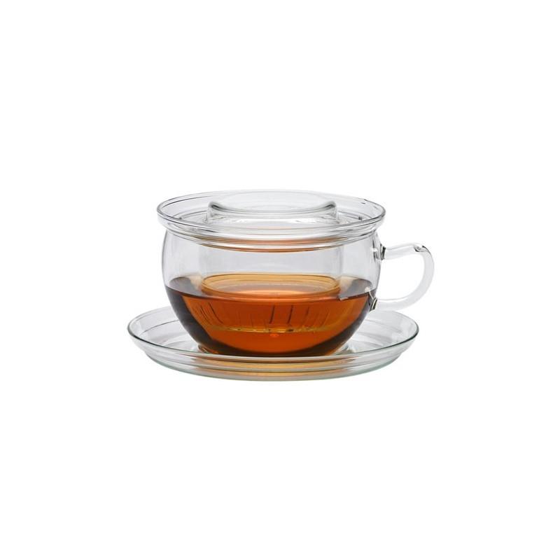Taza de té Tea Time con tapa, plato y filtro de cristal