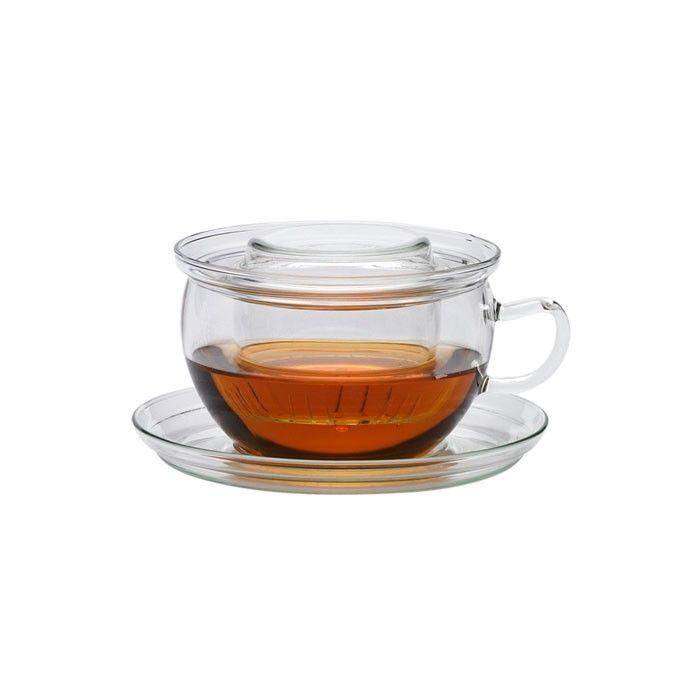 Taza con filtro plato tapa de cristal sin metales pesados for Tazas de te con tapa