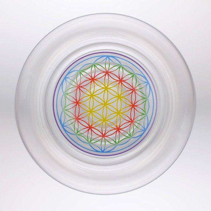 Flor de la vida Mythos-Dorado naturalezas Diseño Vidrio de energía