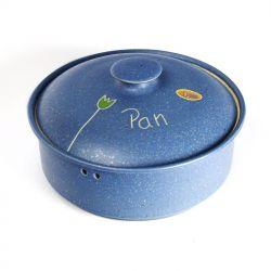 Panera de cerámica - redonda baja Azul