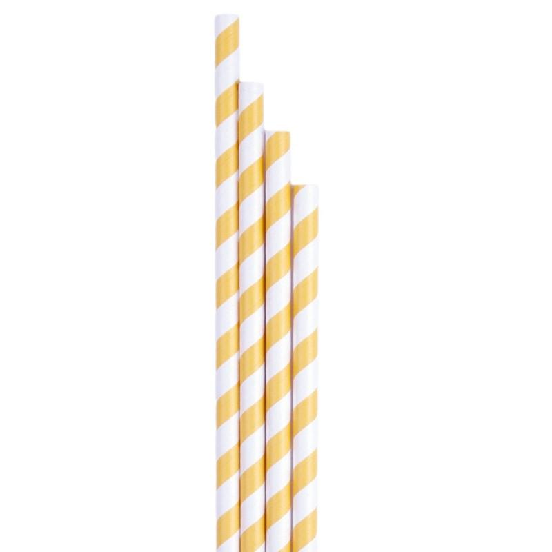 Pajitas de papel smoothies rayas amarillas - Ecológicas