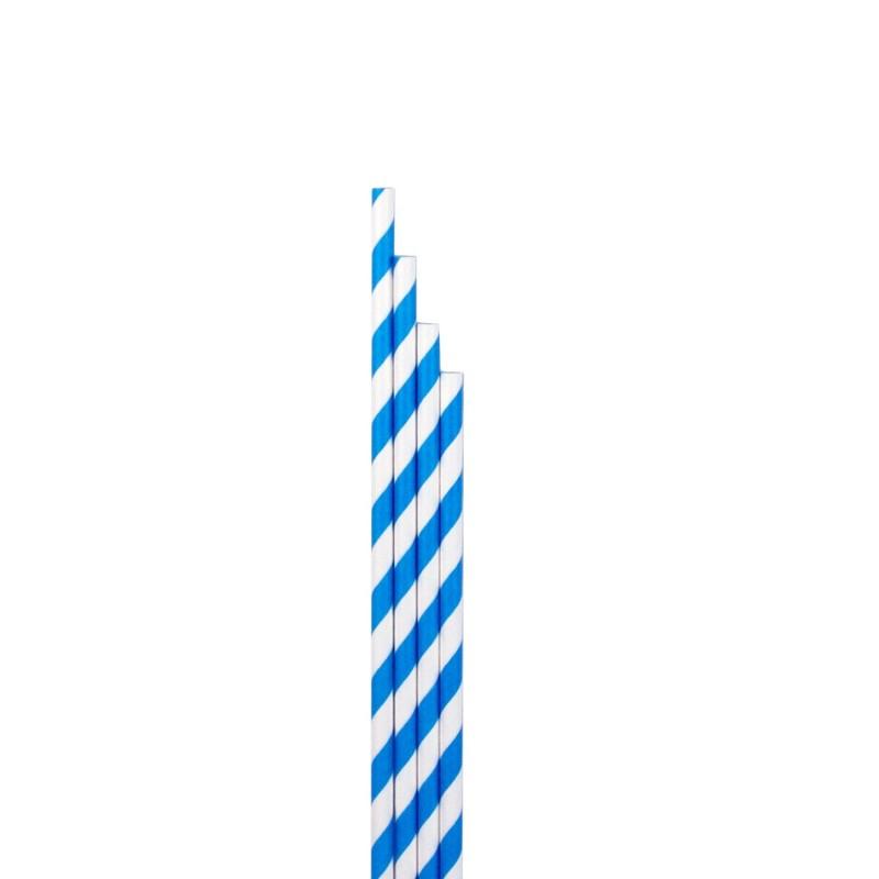 Pajitas orgánicas de rayas azules