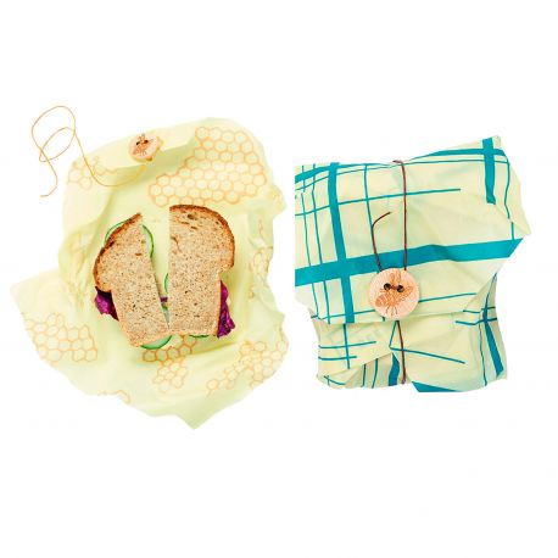 Bee's Wrap envoltorio de cera de abeja - Pack 2 sandwich, modelo panal+rayas