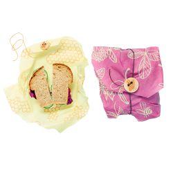 Bee's Wrap envoltorio de cera de abeja - Pack 2 sandwich, modelo panal+trebol