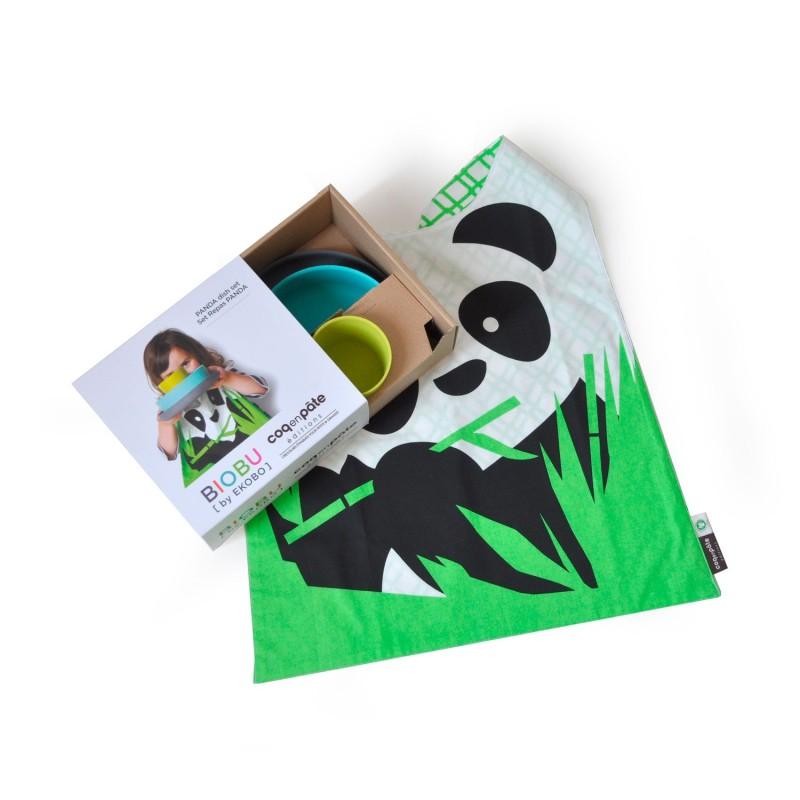 Set Panda con vajilla de bambú y babero