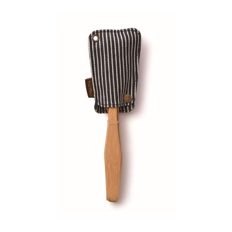 Juego de cuchara, tenedor y cuchillo de bambú con funda