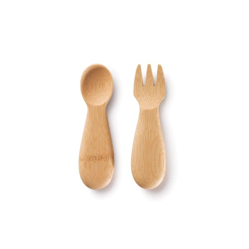 Cuchara y tenedor de bambú para bebés