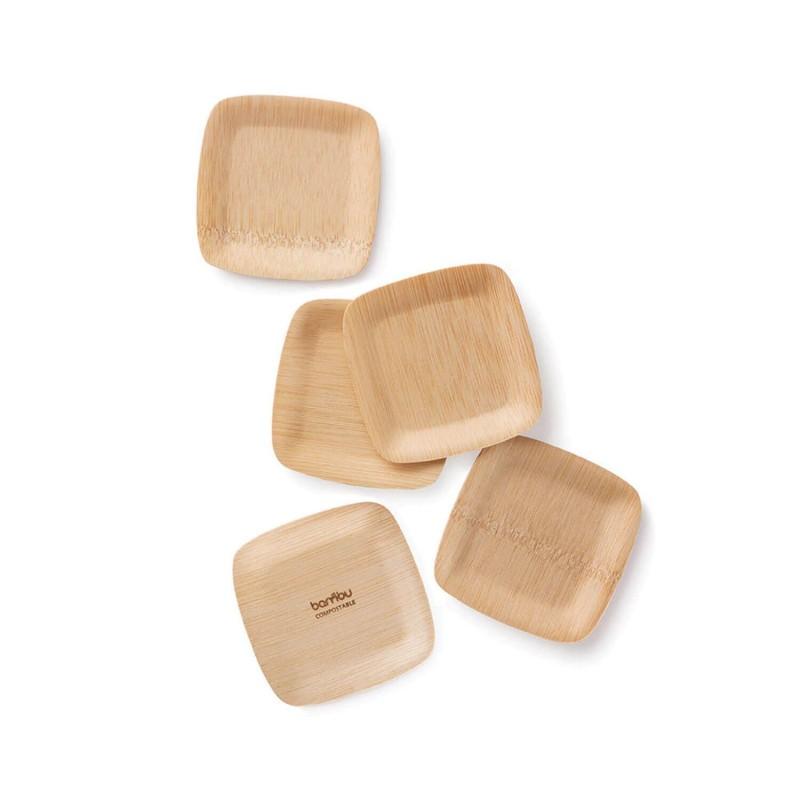 Platos pequeños de bambú - 24 platos de 9 cm