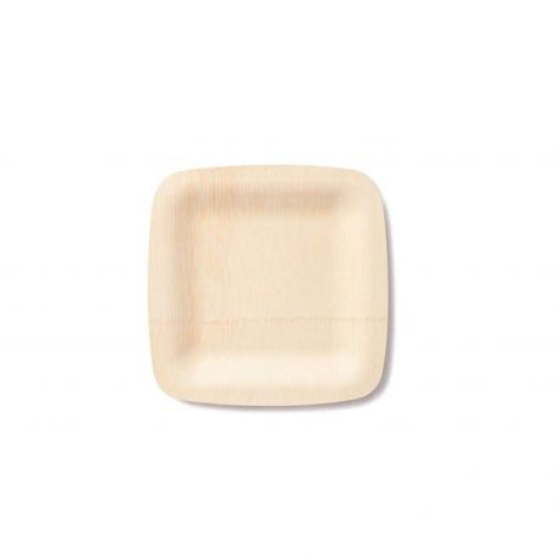 Platos cuadrados de bambú - 8 platos de 18 cm