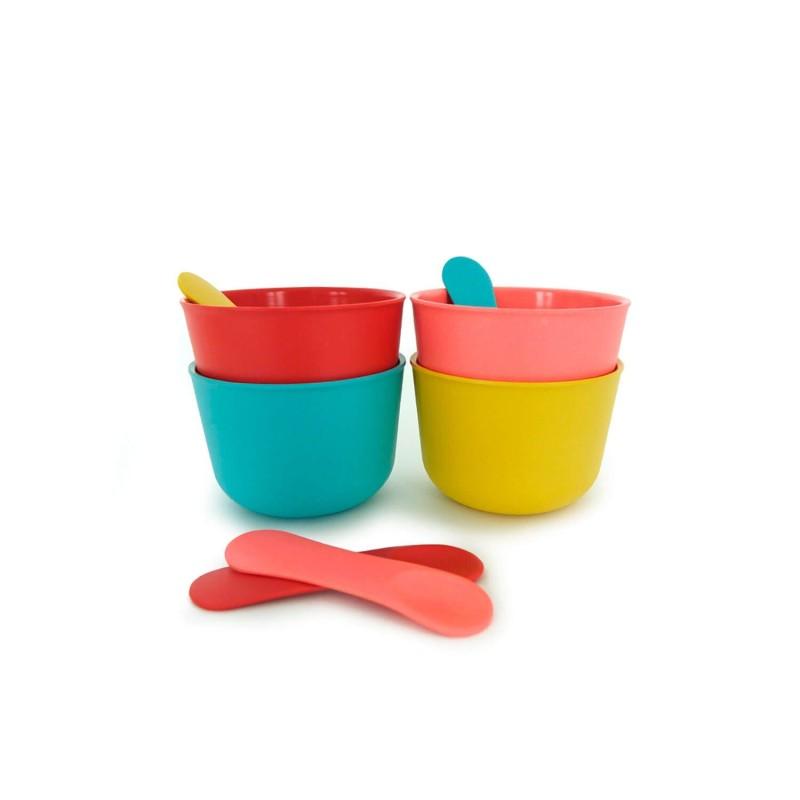 Set 4 boles hondos con cucharilla para helados