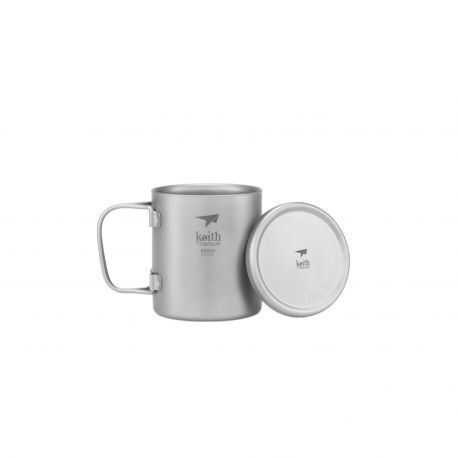 Taza de titanio con doble pared, asa plegable y tapa 220 ml - Keith