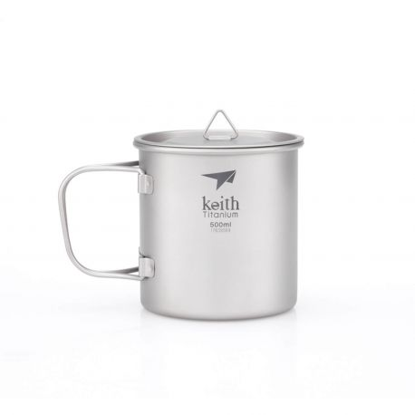 Taza de titanio con asa plegable 500 ml - Keith
