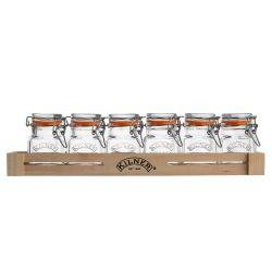 Juego de 6 tarros para especias con soporte de madera - Kilner