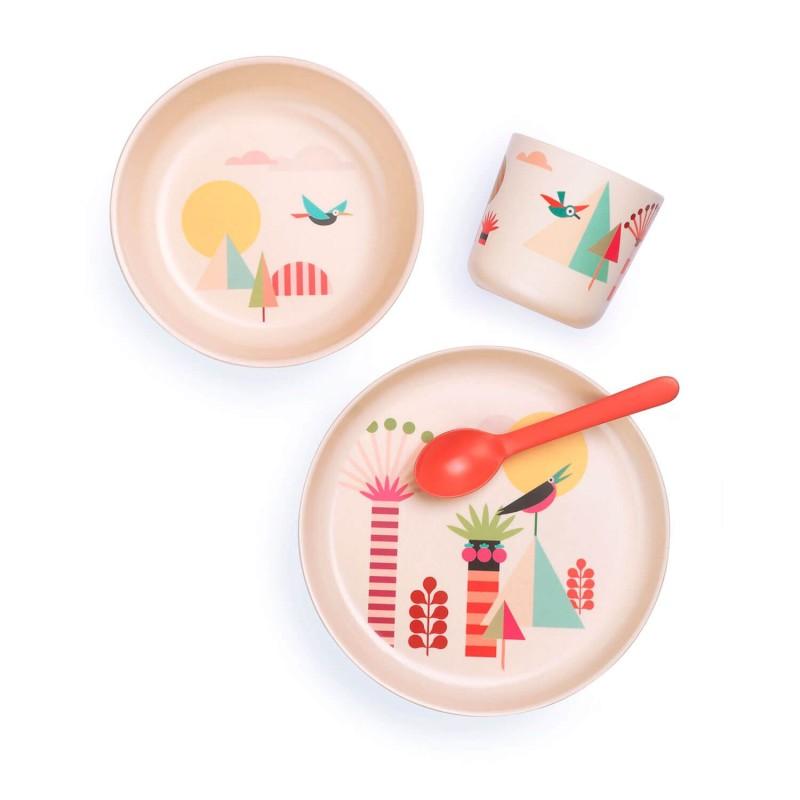 Set Árboles con vajilla y cuchara de bambú