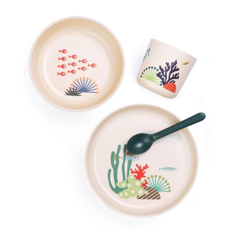Set Marino con vajilla y cuchara de bambú