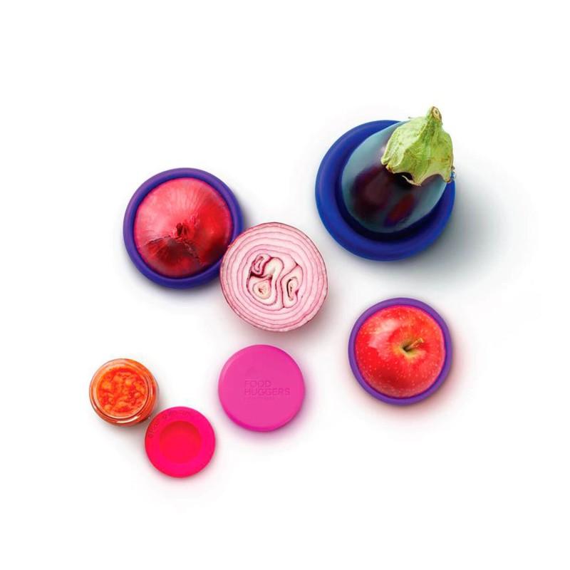 Juego 5 tapas de silicona Bright Berry - Food Huggers