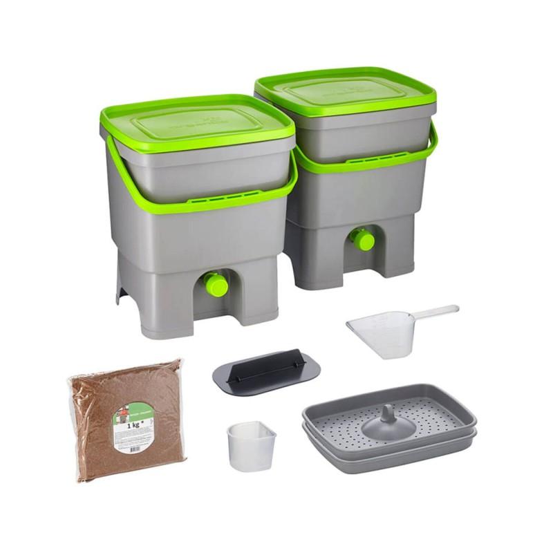 Juego de 2 cubos de reciclaje de materia orgánica - Bokashi Orgánico