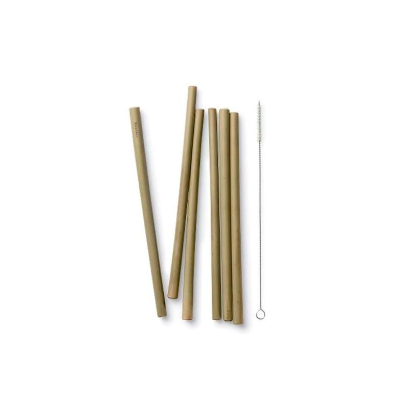 Juego 6 pajitas largas de bambú + cepillo