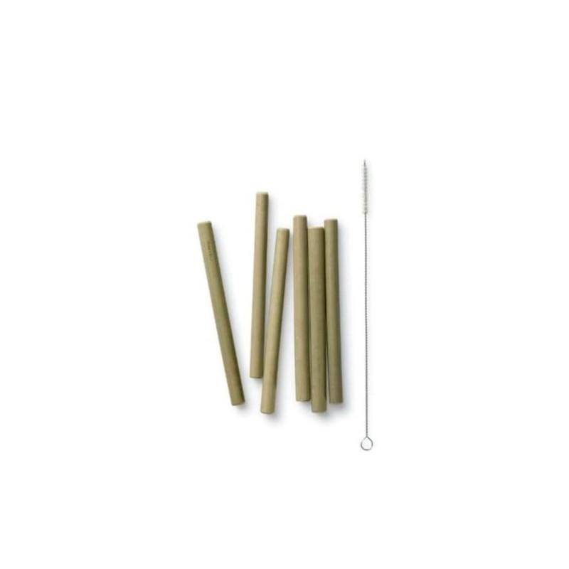 Juego 6 pajitas cortas de bambú + cepillo