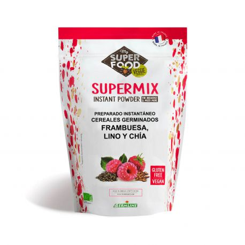 Supermix en polvo de frambuesa. lino y chía