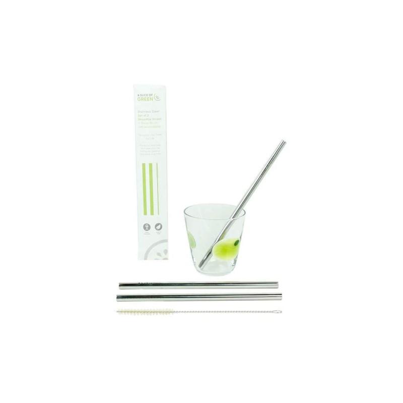 Pack 2 pajitas acero inoxidable para smoothies + cepillo