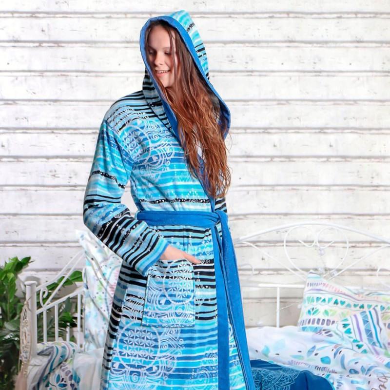 Albornoz de algodón orgánico mujer, azul - The Spirit of Om