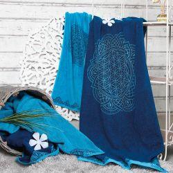 Toalla algodón orgánico Happy Flower, azul - The Spirit of Om