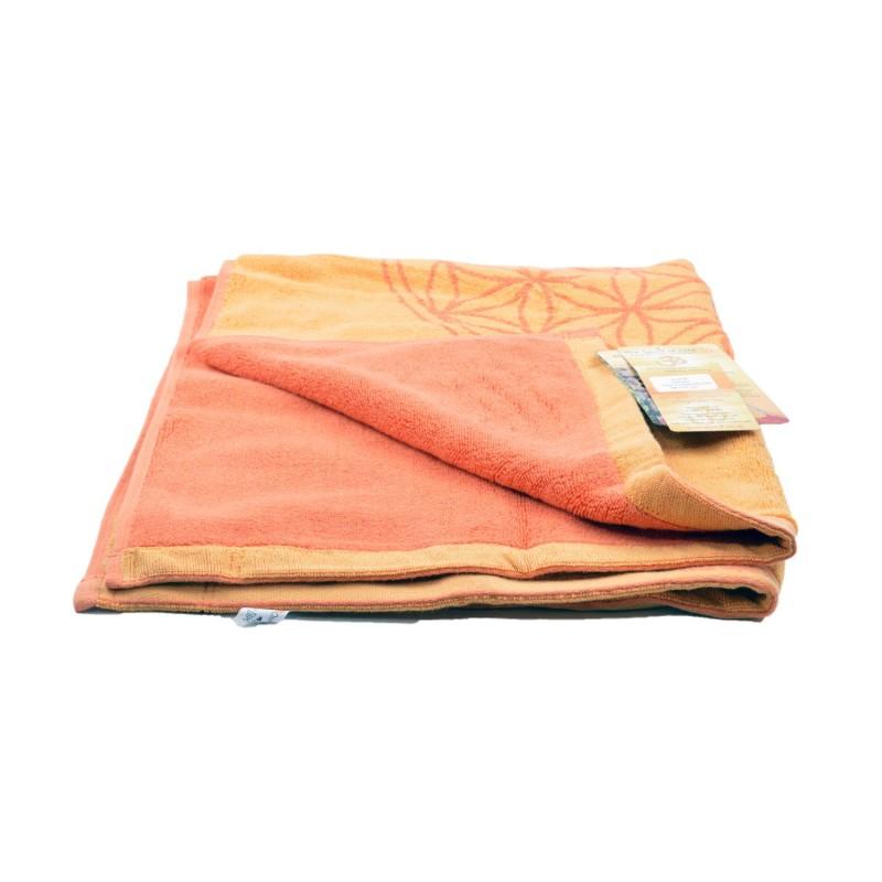 Alfombra de baño algodón orgánico Happy Flower, naranja - The Spirit of Om