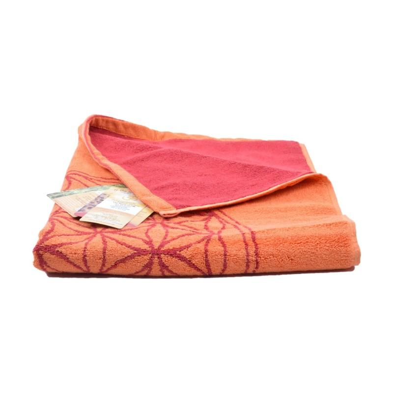 Alfombra de baño algodón orgánico Flor de la vida rojo - The Spirit of Om