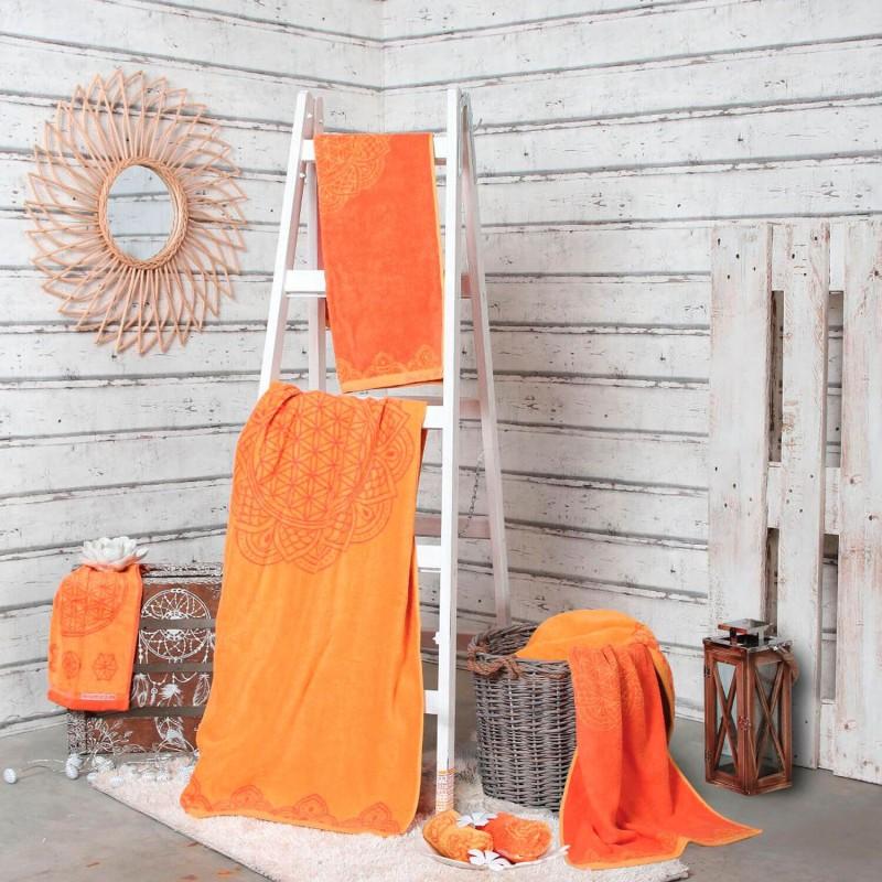 Toallas algodón orgánico Flor de la vida, naranja - The Spirit of om