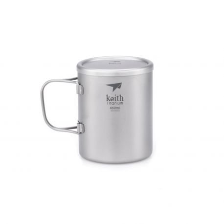 Taza de titanio con doble pared, asa plegable y tapa 450 ml - Keith