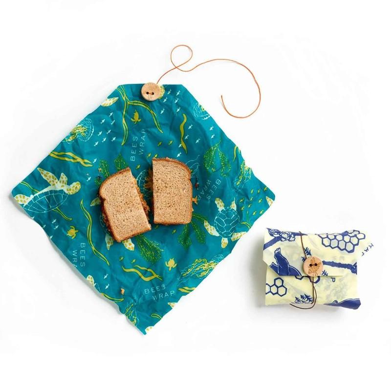 Bee's Wrap envoltorio de cera de abeja sandwich, pack 2 modelo osos y océano