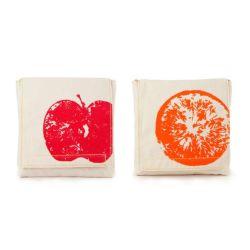 """Bolsita para comida y sándwich - Pack 2 """"Manzana y naranja"""""""