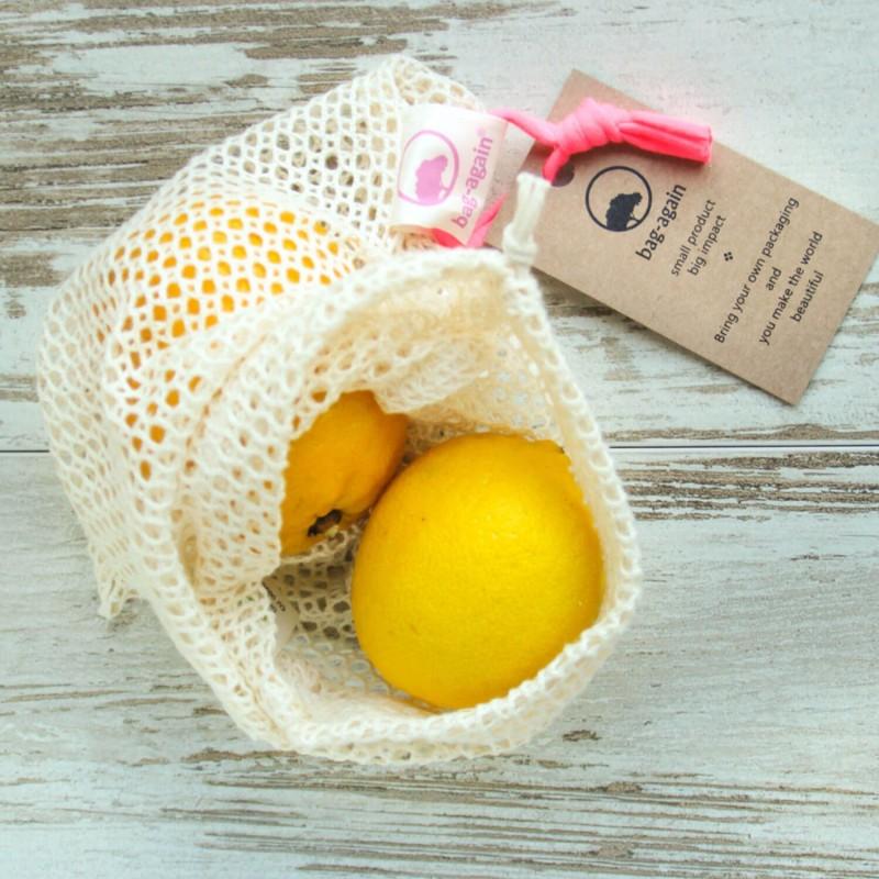 Bolsa de malla de algodón orgánico para frutas y verduras - Bag Again