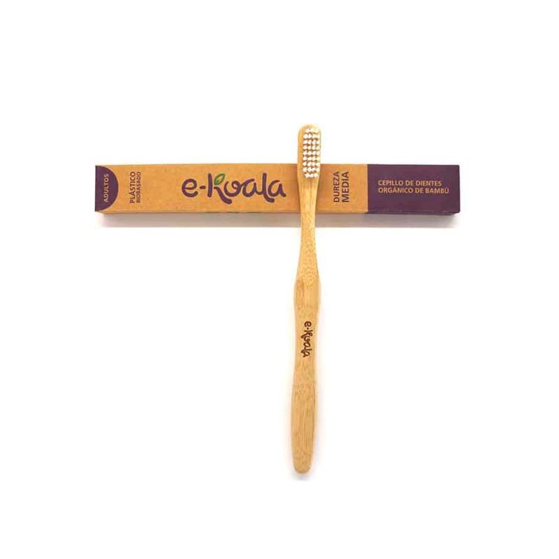 Cepillo de dientes de bambú para adultos, dureza media - Ekoala