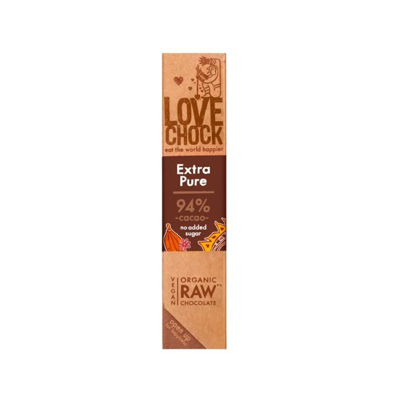 Barrita de chocolate crudo ecológico 94%, extra puro