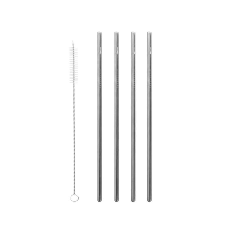 Pack 4 pajitas de acero inoxidable + cepillo