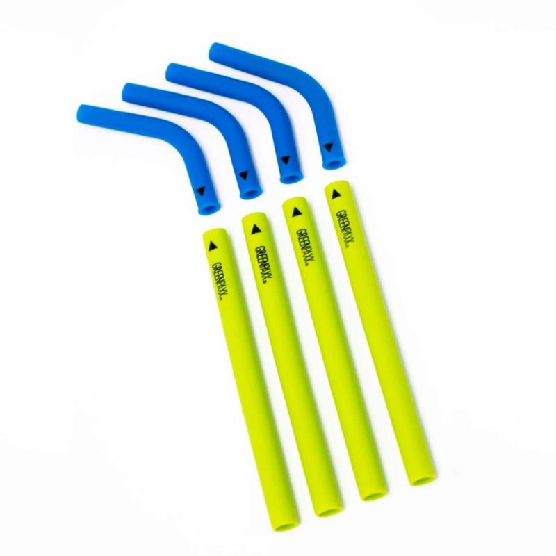Pack 4 pajitas de silicona de dos piezas - Azul y verde