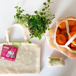 Pack 3 bolsas reutilizables de malla de algodón orgánico - Bobbibags