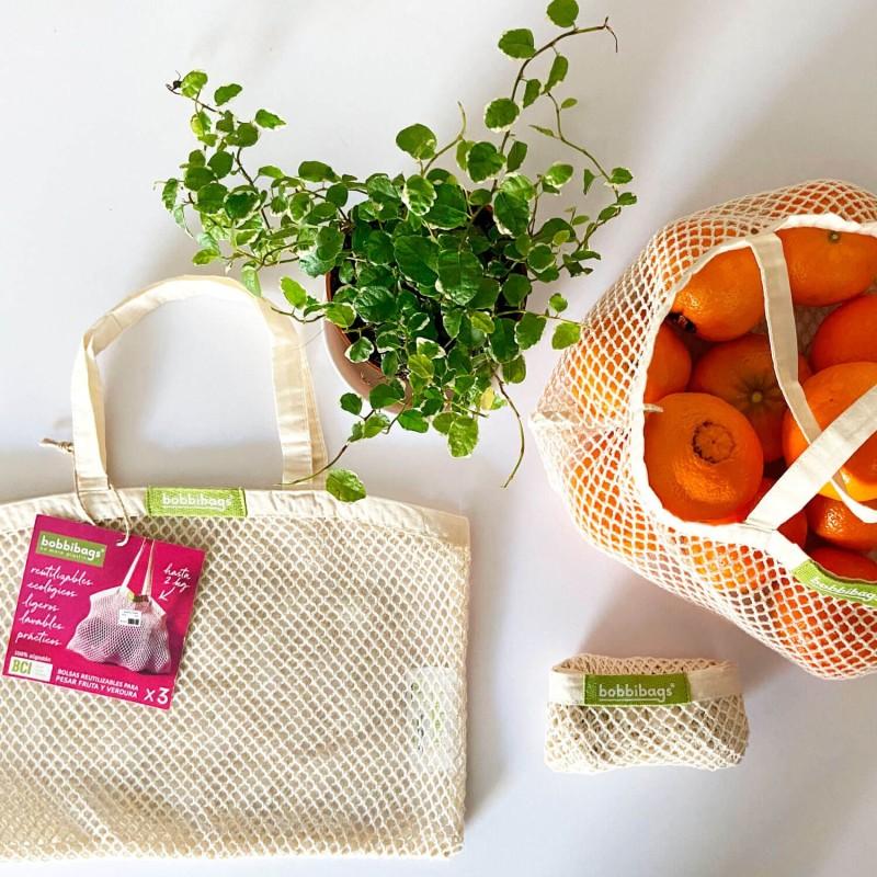 Pack 3 bolsas de malla de algodón orgánico con asas - bobbibags