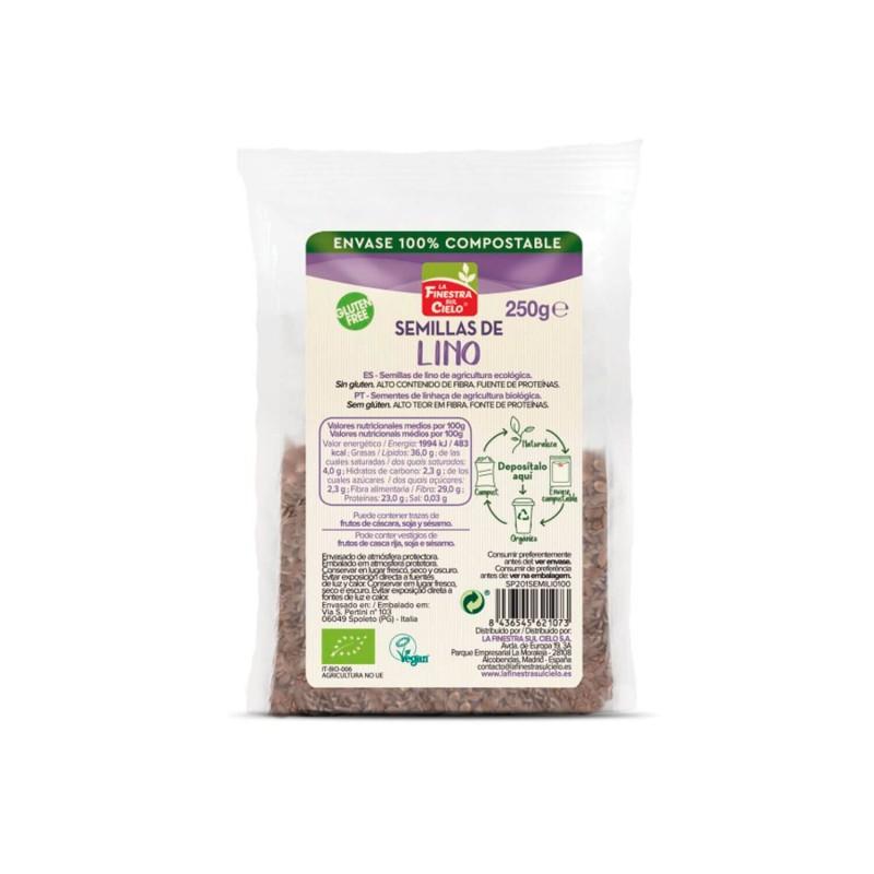 Semillas de lino marrón ecológicas sin gluten - Finestra Sul Cielo