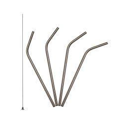 Pack 4 pajitas de acero inoxidable curvadas + cepillo de silicona