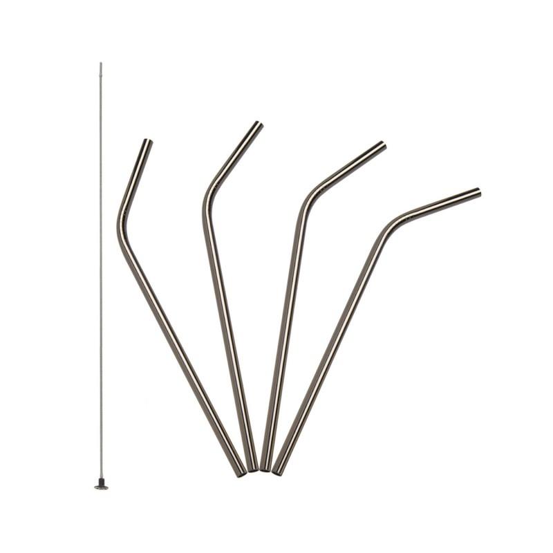 Pack 4 pajitas de acero inoxidable + cepillo de silicona