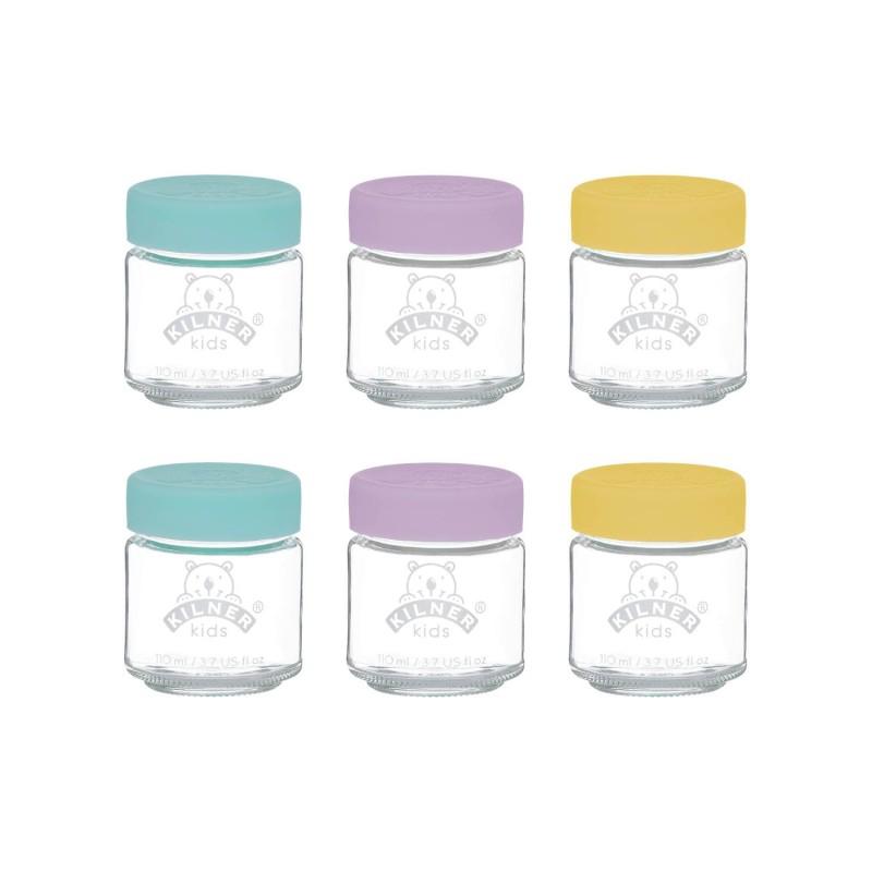 Juego de 6 tarros de vidrio para potitos, 110 ml
